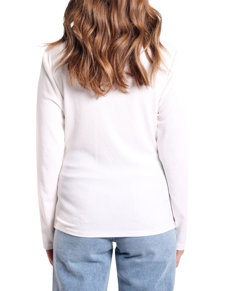 Long Sleeve Twist Front Top White image 2