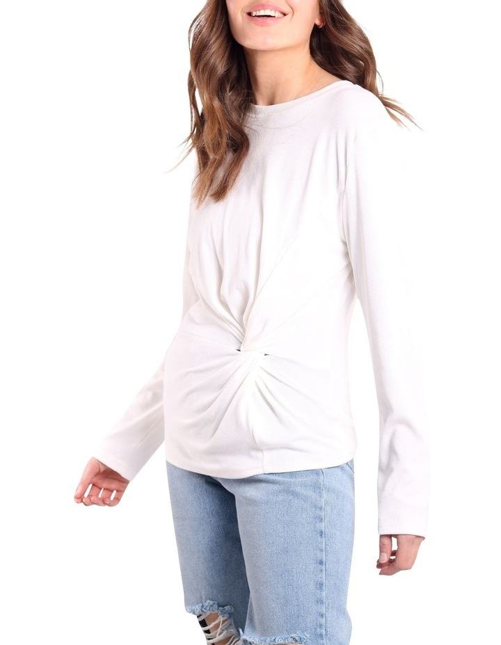 Long Sleeve Twist Front Top White image 3