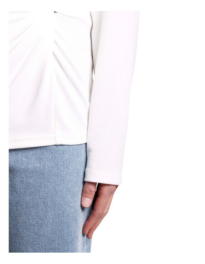Long Sleeve Twist Front Top White image 4