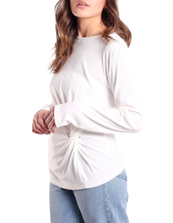 Long Sleeve Twist Front Top White image 5