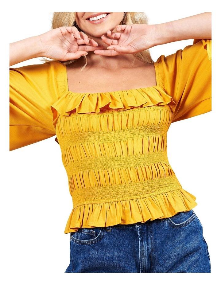 Marigold Sheered Body Angel Sleeve Top image 1