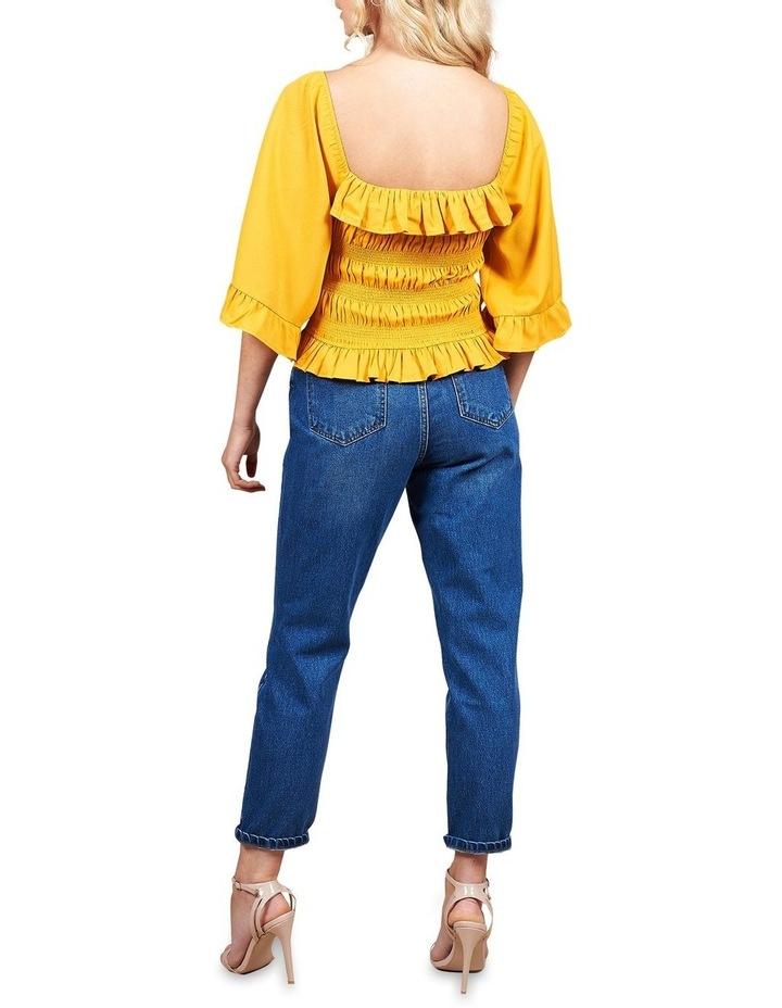 Marigold Sheered Body Angel Sleeve Top image 4