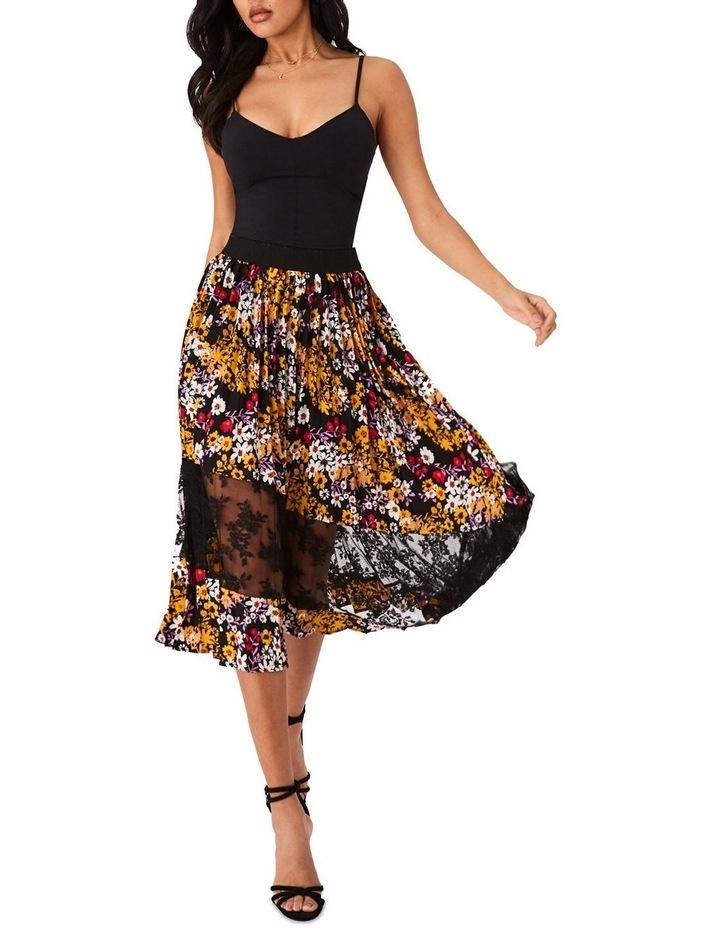 Pleated Dark Floral Midi Skirt image 1