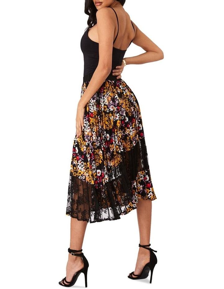 Pleated Dark Floral Midi Skirt image 3