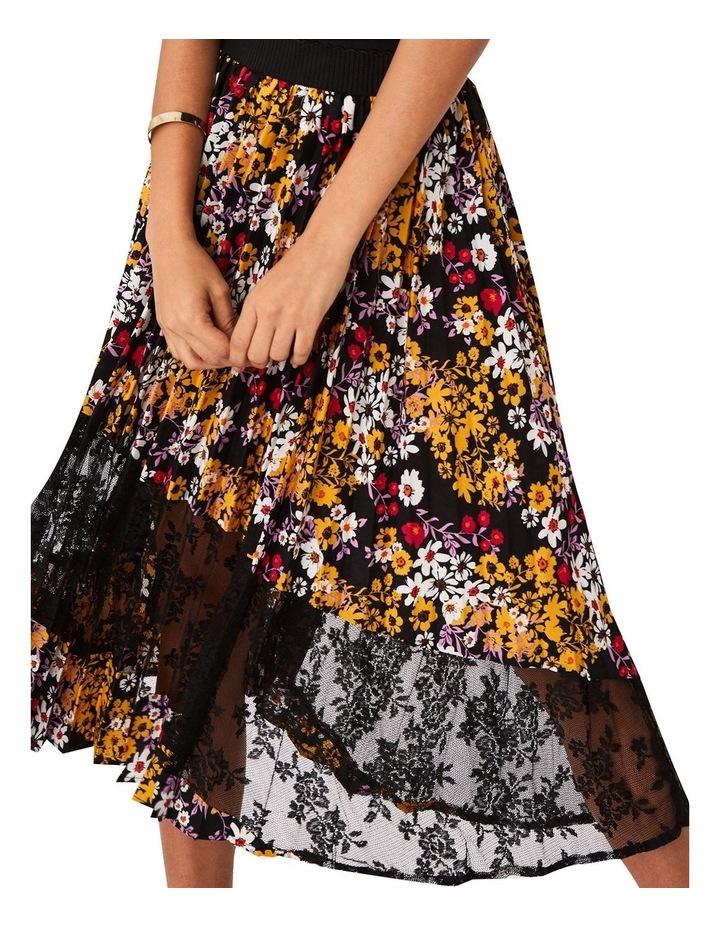 Pleated Dark Floral Midi Skirt image 5