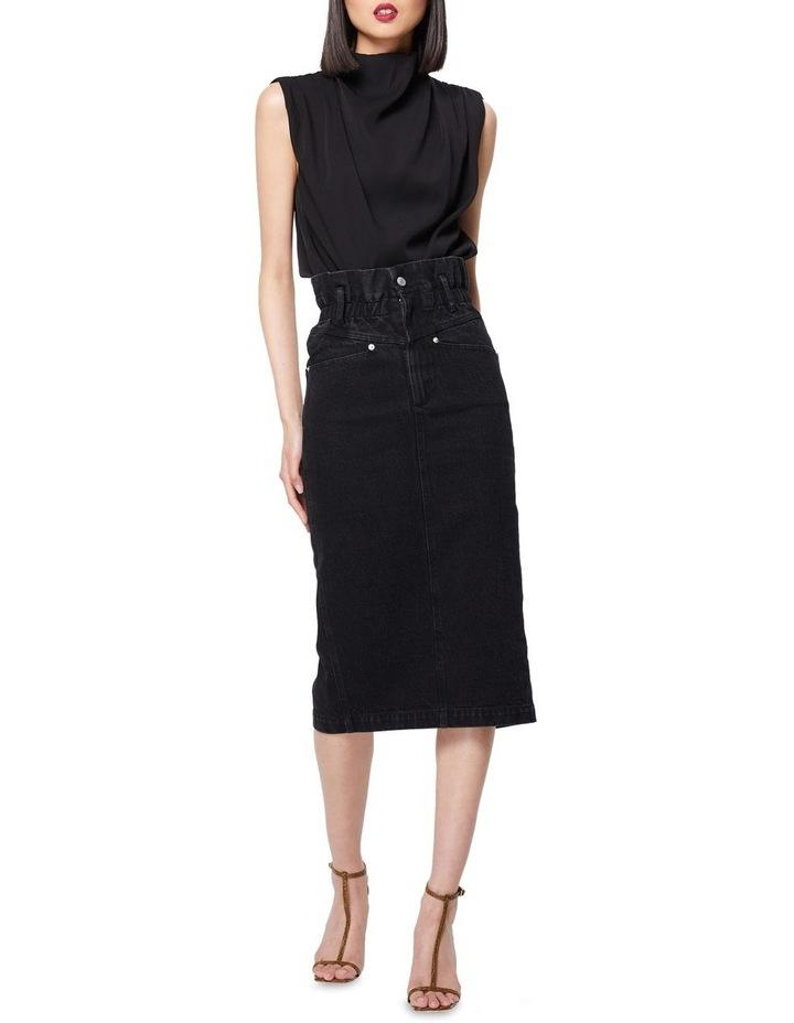 The Solitary Black Denim Midi Skirt image 1