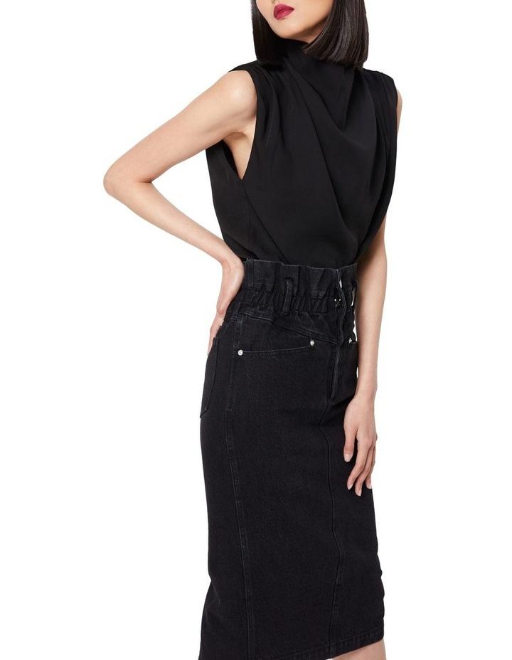 The Solitary Black Denim Midi Skirt image 2