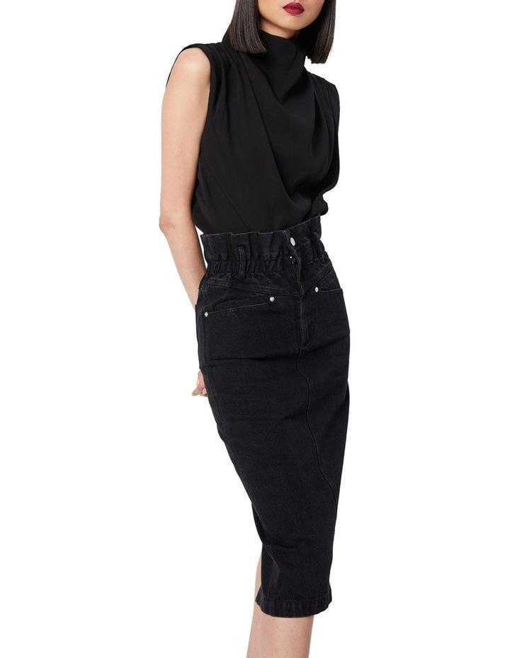 The Solitary Black Denim Midi Skirt image 3