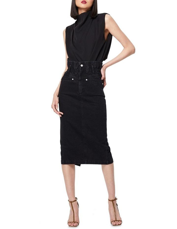 The Solitary Black Denim Midi Skirt image 4