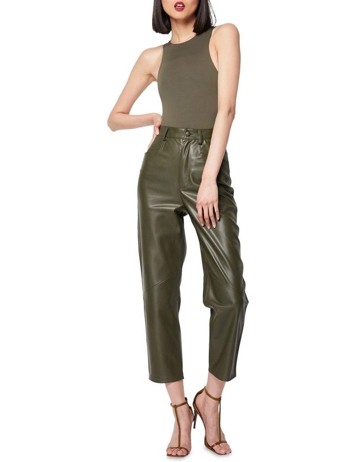 The Infinite Faux Leather Straight Leg Pants Khaki image 1