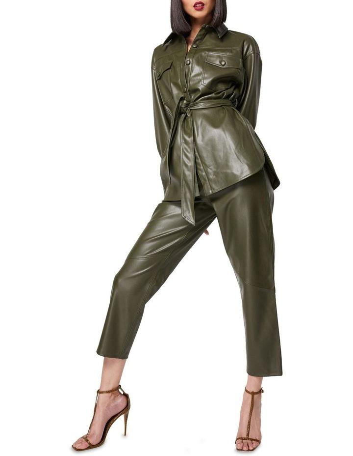 The Infinite Faux Leather Straight Leg Pants Khaki image 2