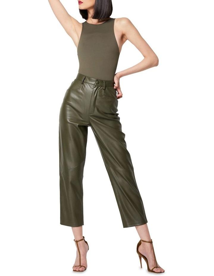 The Infinite Faux Leather Straight Leg Pants Khaki image 3