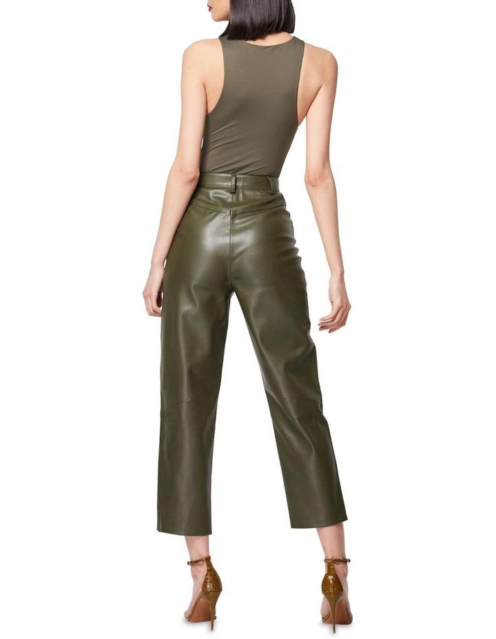 The Infinite Faux Leather Straight Leg Pants Khaki image 4