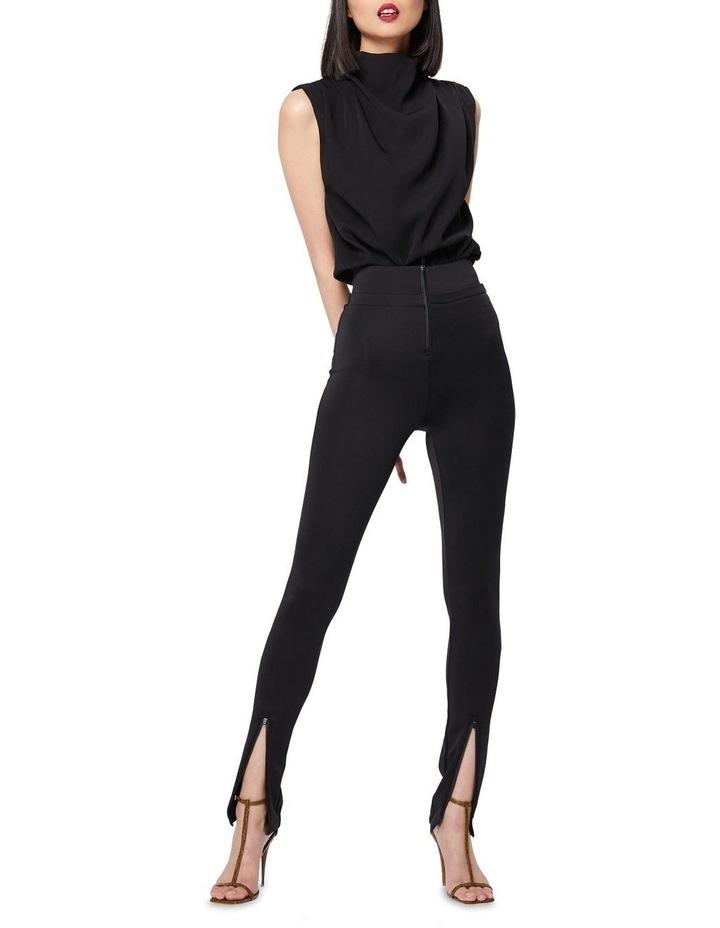 The Defensive Black High Waisted Split Hem Pants image 1