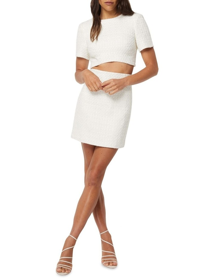 Take The Lead Ivory Tweed A-Line Mini Skirt image 1