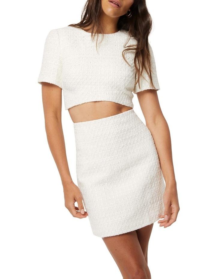 Take The Lead Ivory Tweed A-Line Mini Skirt image 5