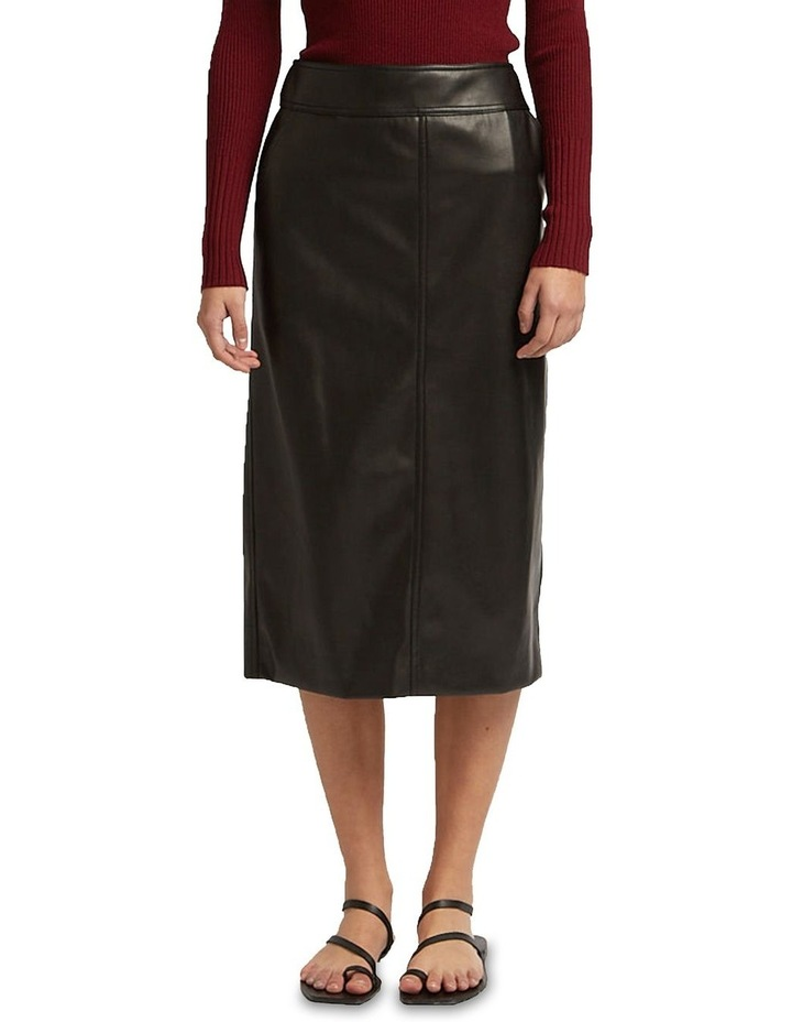 Aaia Vegan Leather Black Midi Skirt image 1