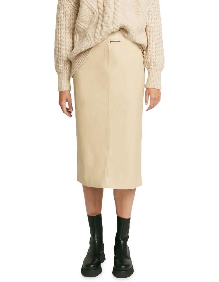 Aaia Vegan Leather Ecru Midi Skirt image 1