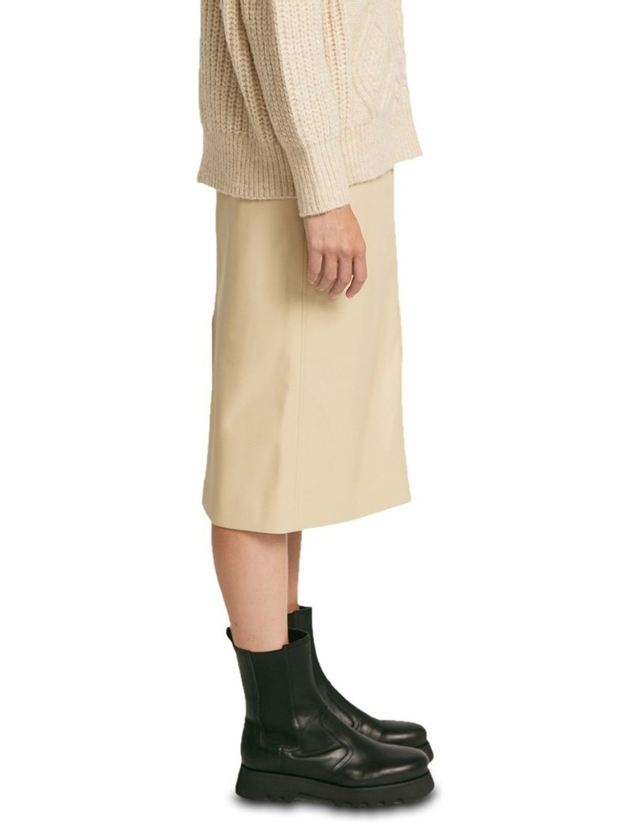 Aaia Vegan Leather Ecru Midi Skirt image 2