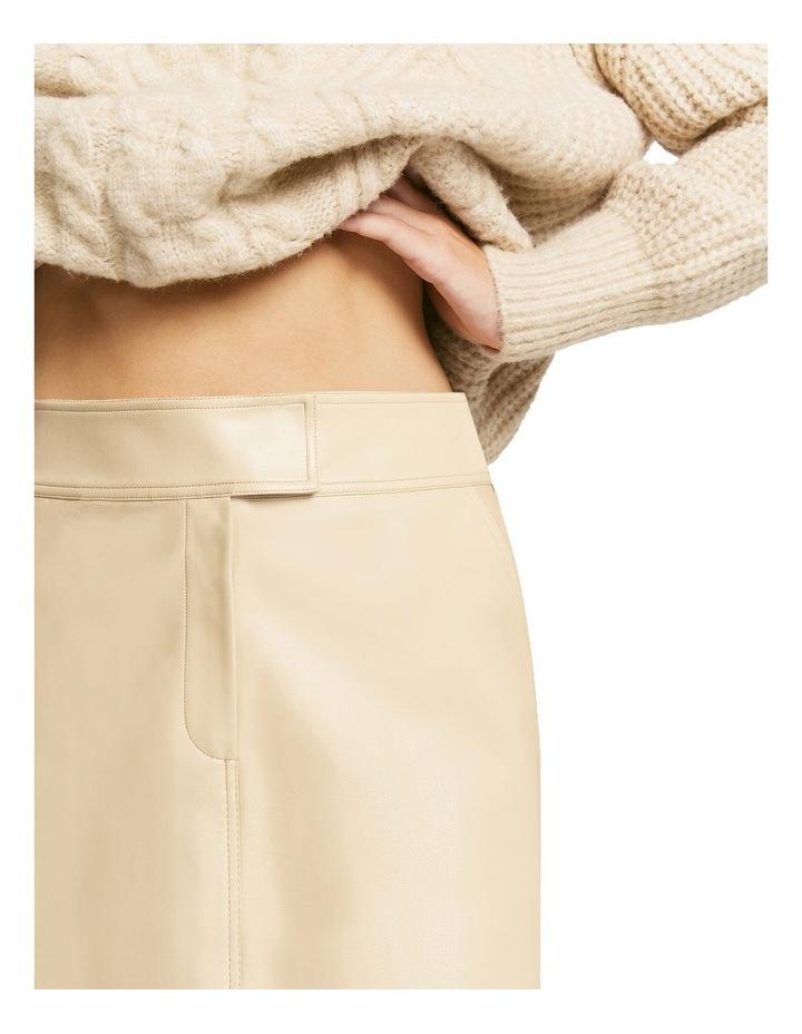 Aaia Vegan Leather Ecru Midi Skirt image 4