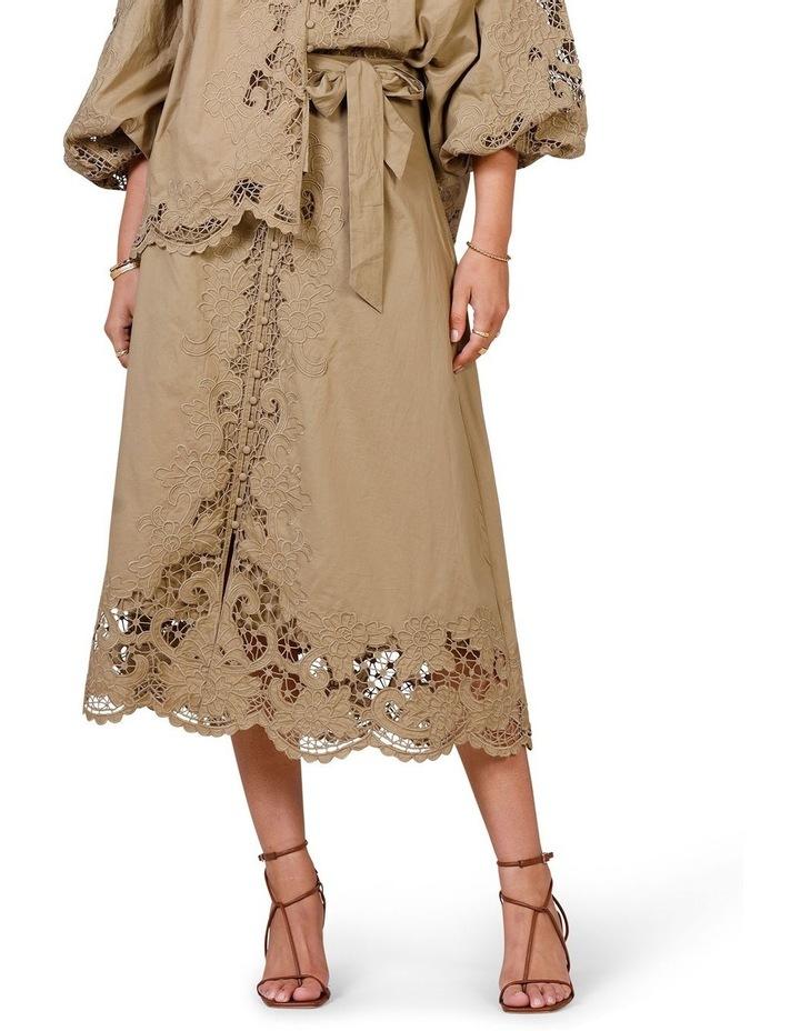 Renaissance Embroidery Midi Skirt Moss image 1