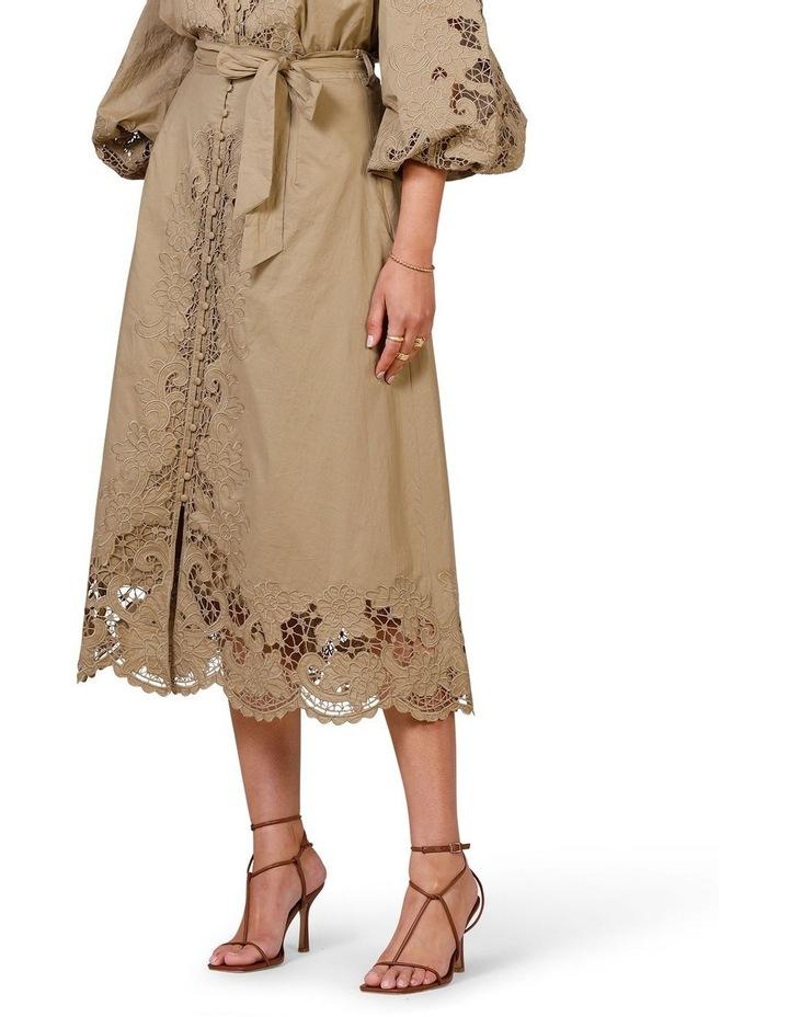 Renaissance Embroidery Midi Skirt Moss image 3