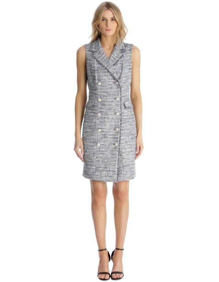 Sleeveless Tweed Blazer Dress with Front Pocket image 1