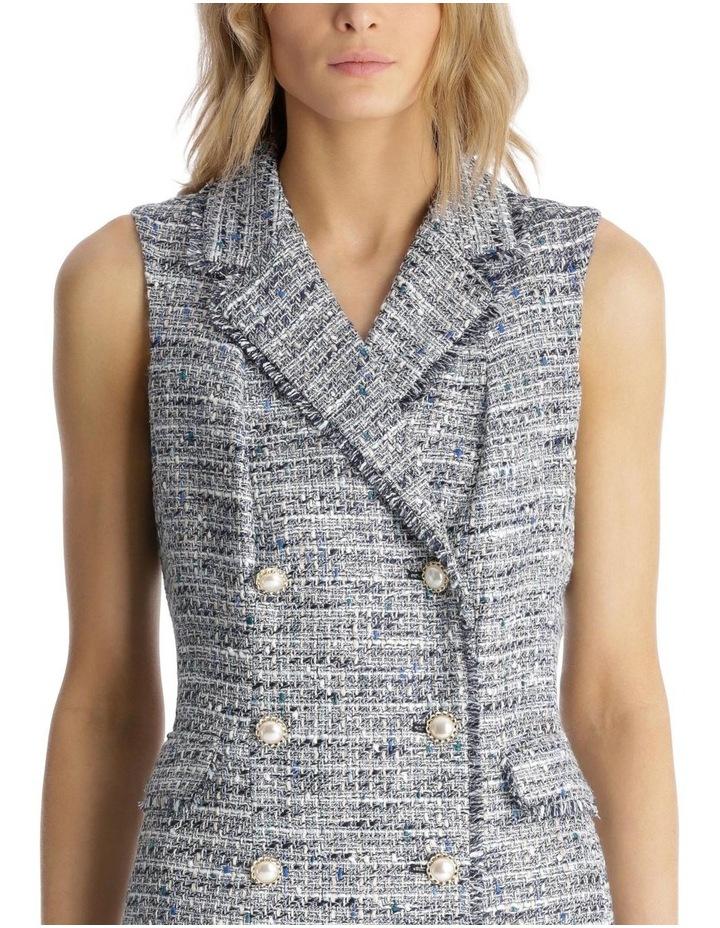 Sleeveless Tweed Blazer Dress with Front Pocket image 4