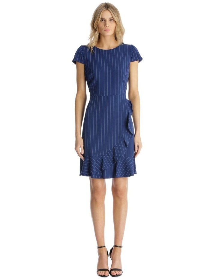 Pinstripe Fit and Flare with Flounce Hem image 1