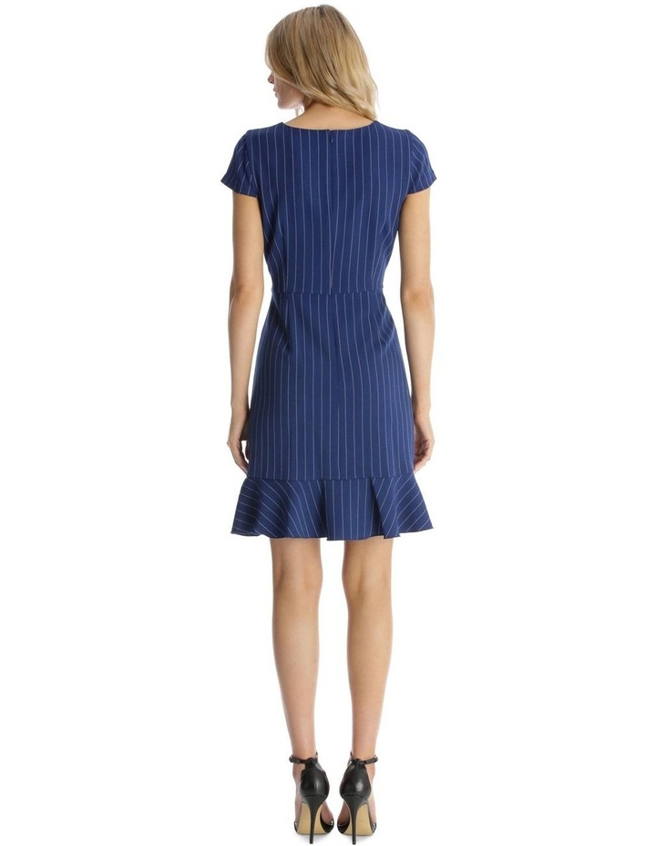 Pinstripe Fit and Flare with Flounce Hem image 3