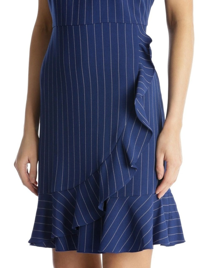 Pinstripe Fit and Flare with Flounce Hem image 4