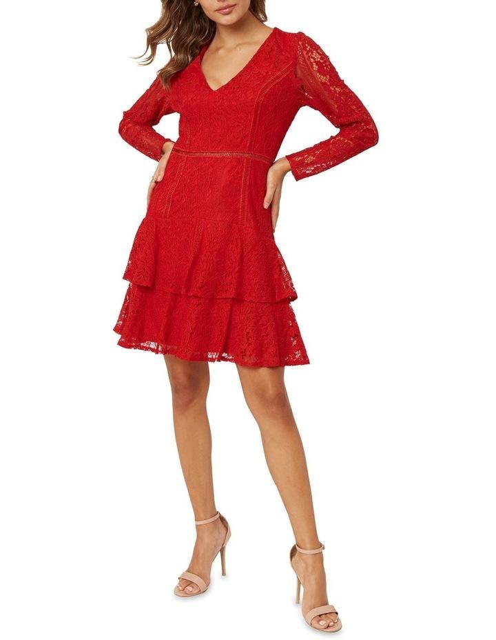 Long Sleeve Ruffled Lace Dress image 1