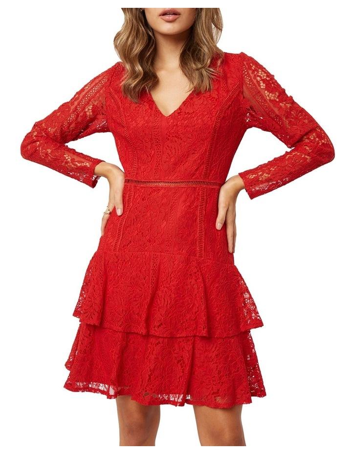 Long Sleeve Ruffled Lace Dress image 3