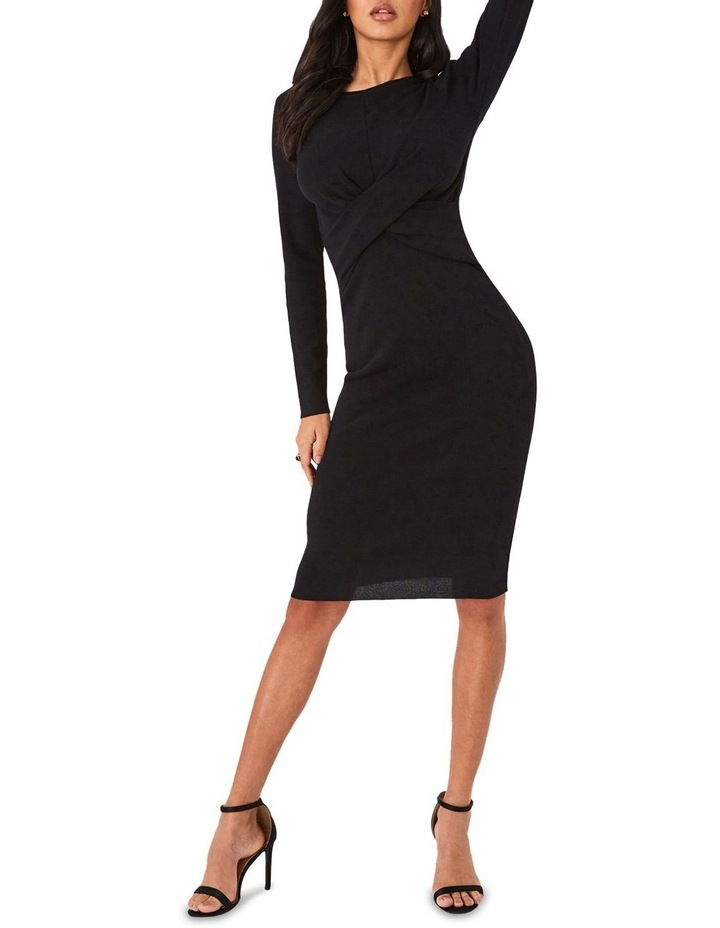 Ribbed Cross-Front Bodycon Dress image 1