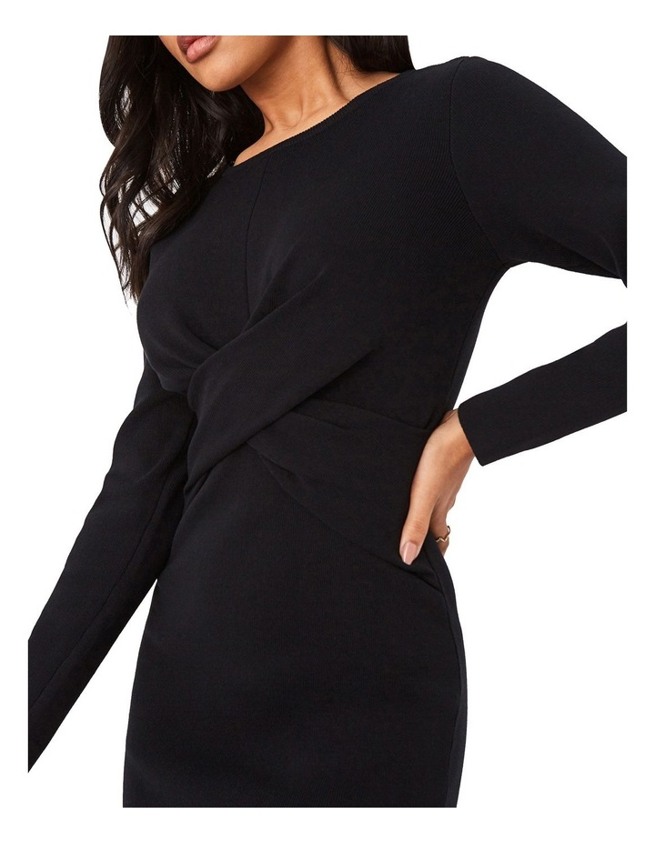 Ribbed Cross-Front Bodycon Dress image 4