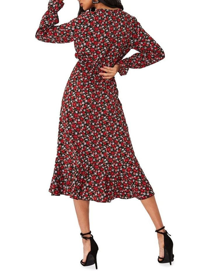 Red Ditsy Floral-Print Frill Midi Dress image 1