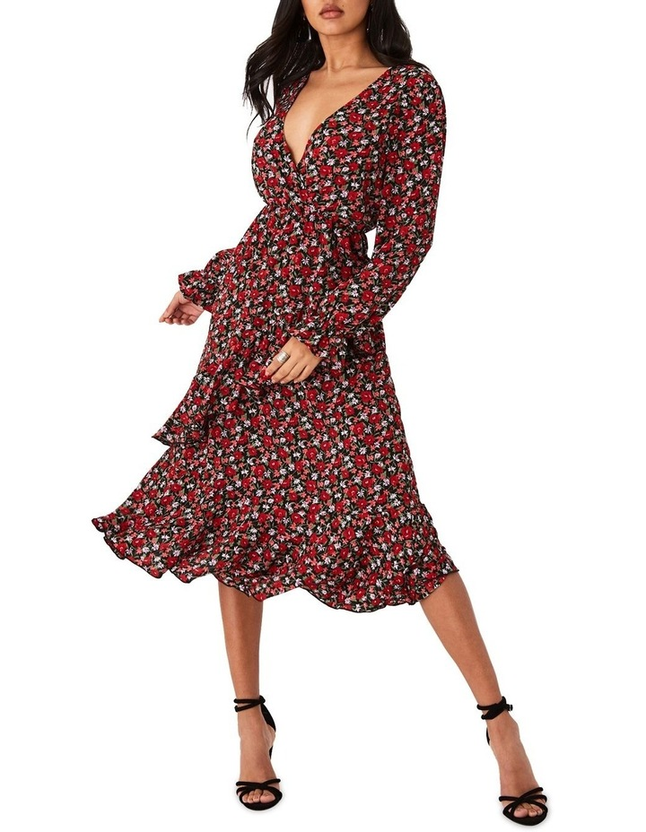 Red Ditsy Floral-Print Frill Midi Dress image 2