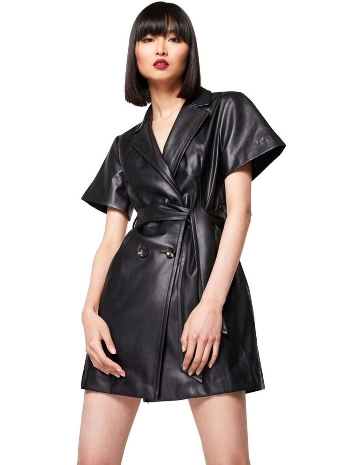 The Never Too Much Faux Leather Mini Dress Black image 3