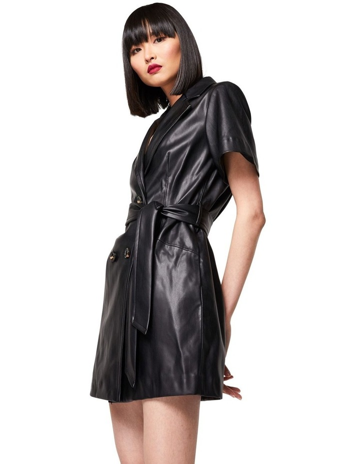 The Never Too Much Faux Leather Mini Dress Black image 4