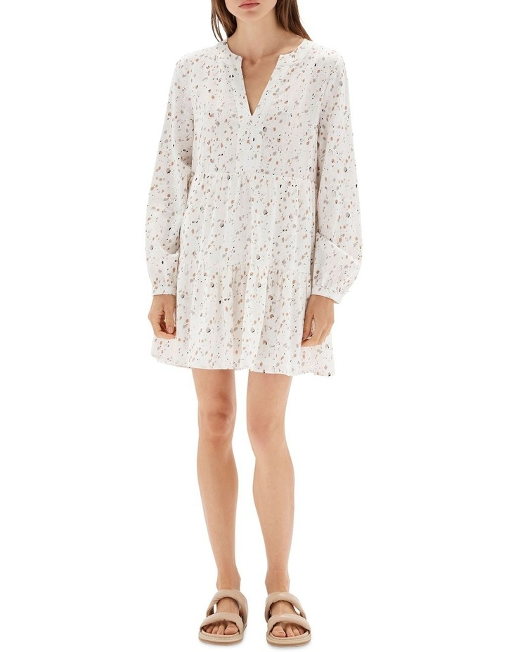 Terrazzo Long Sleeve Mini Dress White image 1