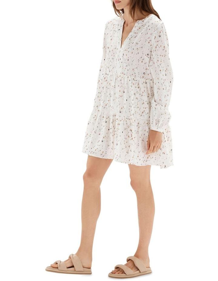 Terrazzo Long Sleeve Mini Dress White image 3