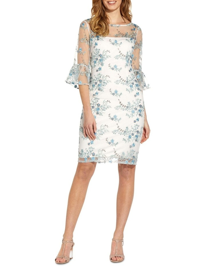 Embroidered Bell Sleeve Sheath Dress image 1