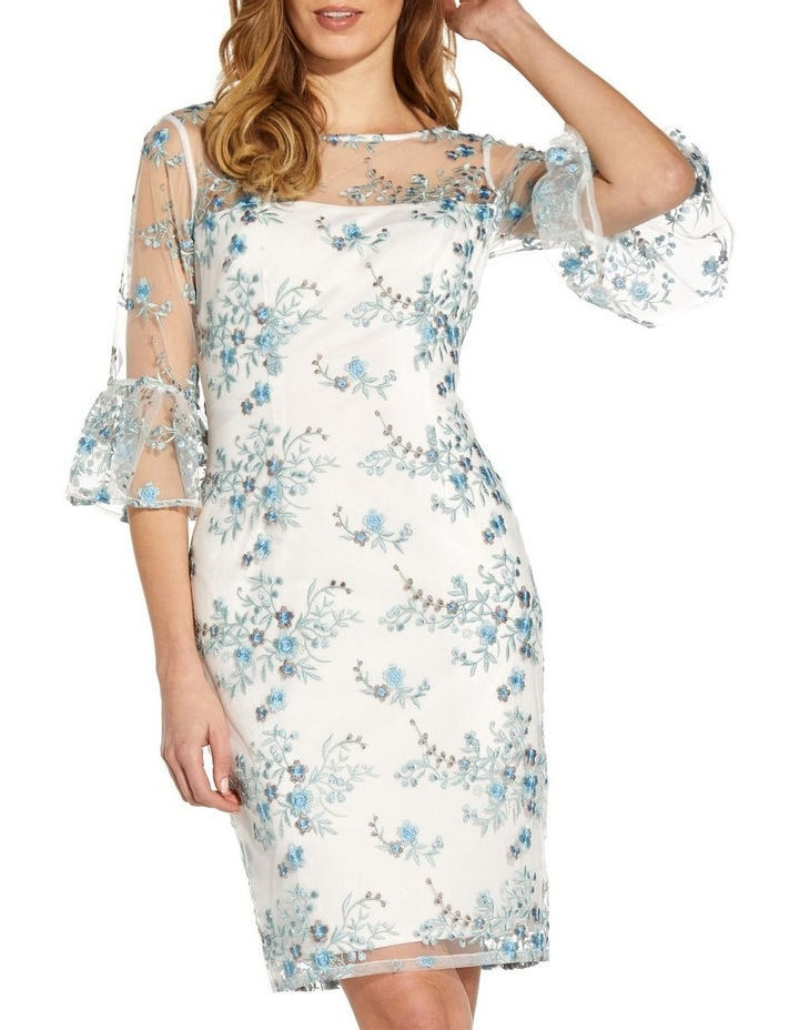 Embroidered Bell Sleeve Sheath Dress image 4
