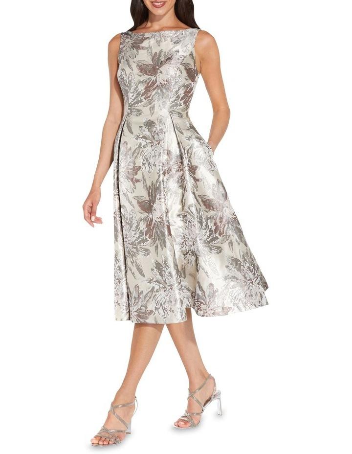 Metallic Jacquard Midi Dress image 1