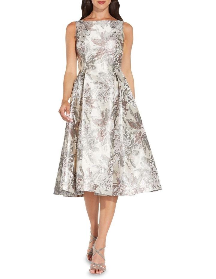 Metallic Jacquard Midi Dress image 3
