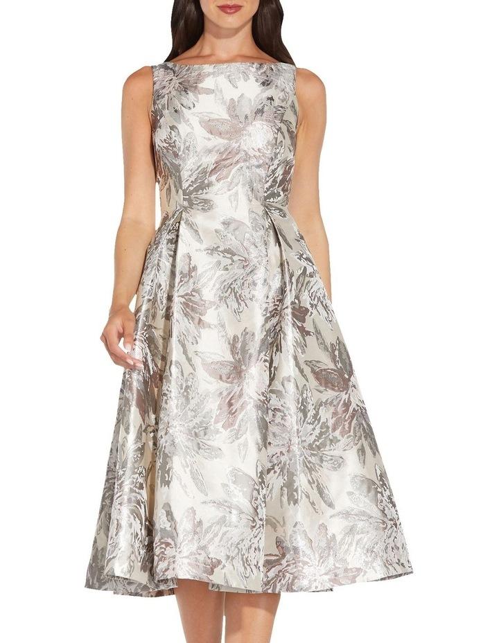 Metallic Jacquard Midi Dress image 4