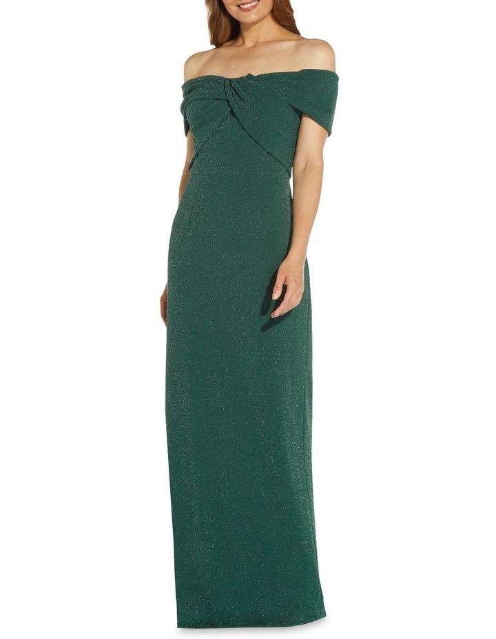 Metallic Knit Column Gown Dress image 1