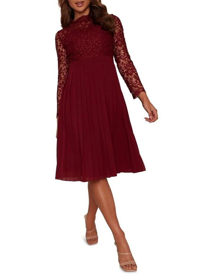 Long Sleeve Midi Dress Burgundy image 1