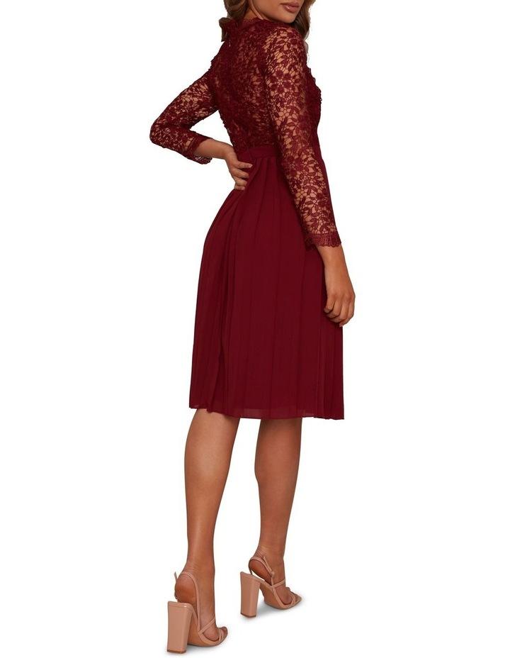 Long Sleeve Midi Dress Burgundy image 3