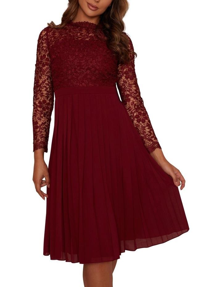 Long Sleeve Midi Dress Burgundy image 4